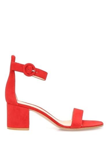 Gianvito Rossi Kalın Topuklu %100 Süet Sandalet Kırmızı
